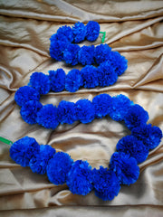 Hanging Artificial Garland Flowers - 1 X String Of Blue Marigold Artificial Plastic Hanging Garland 4ft Long