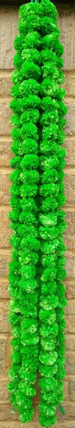 Hanging Artificial Garland Flowers - 1 X String Of Green Marigold Artificial Plastic Hanging Garland 4ft Long