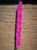 Hanging Artificial Garland Flowers - 1 X String Of Hot Pink Marigold Artificial Plastic Hanging Garland 4ft Long