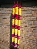 Hanging Artificial Garland Flowers - 1 X String Of Hot Pink / Yellow / Green Hanging Artificial Cloth Garland Flowers 6ft Long