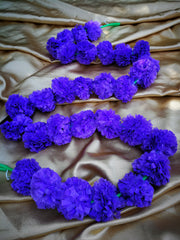 Hanging Artificial Garland Flowers - 1 X String Of Hot Purple Marigold Artificial Plastic Hanging Garland 4ft Long