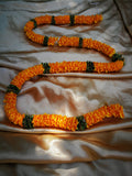 Hanging Artificial Garland Flowers - 1 X String Of Orange / Green Hanging Artificial Cloth Garland Flowers 6ft Long