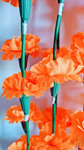 Hanging Artificial Garland Flowers - 1 X String Of Orange Hanging Artificial Cloth Garland Flowers With Green Stems 5ft Long