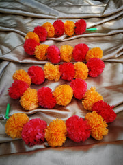 Hanging Artificial Garland Flowers - 1 X String Of Orange / Red Marigold Artificial Plastic Hanging Garland 4ft Long