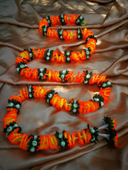 Hanging Artificial Garland Flowers - 1 X String Of Orange / White / Green Hanging Artificial Cloth Garland Flowers 6ft Long