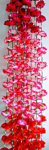 Hanging Artificial Garland Flowers - 1 X String Of Purple / Hot Pink / White / Red Hanging Artificial Cloth Garland Flowers With Green Stems 5ft Long