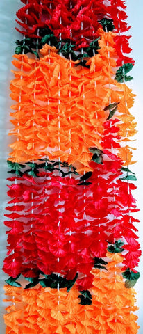 Hanging Artificial Garland Flowers - 1 X String Of Red / Green / Orange Hanging Artificial Cloth Garland Flowers With White Stems 5ft Long