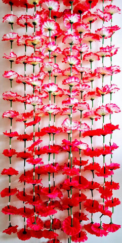 Hanging Artificial Garland Flowers - 1 X String Of Red / Hot Pink Hanging Artificial Cloth Garland Flowers With Green Stems 5ft Long