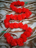 Hanging Artificial Garland Flowers - 1 X String Of Red Marigold Artificial Plastic Hanging Garland 4ft Long