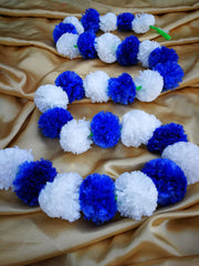 Hanging Artificial Garland Flowers - 1 X String Of White / Blue Marigold Artificial Plastic Hanging Garland 4ft Long