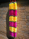 Hanging Artificial Garland Flowers - 1 X String Of White / Green / Yellow / Pink Hanging Artificial Cloth Garland Flowers 6ft Long