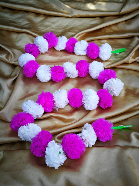 Hanging Artificial Garland Flowers - 1 X String Of White / Hot Pink Marigold Artificial Plastic Hanging Garland 4ft Long