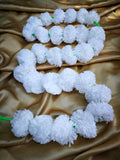 Hanging Artificial Garland Flowers - 1 X String Of White Marigold Artificial Plastic Hanging Garland 4ft Long