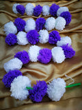 Hanging Artificial Garland Flowers - 1 X String Of White / Purple Marigold Artificial Plastic Hanging Garland 4ft Long