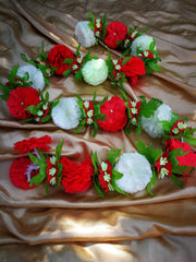 Hanging Artificial Garland Flowers - 1 X String Of White / Red / Green Hanging Artificial Cloth Garland Flowers 6ft Long