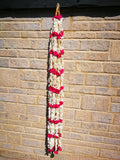 Hanging Artificial Garland Flowers - 1 X String Of White / Red Hanging Artificial Cloth Garland Flowers 6ft Long