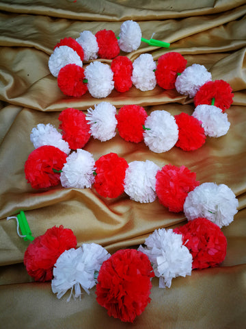 Hanging Artificial Garland Flowers - 1 X String Of White / Red Marigold Artificial Plastic Hanging Garland 4ft Long