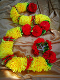 Hanging Artificial Garland Flowers - 1 X String Of Yellow / Red / Green Hanging Artificial Cloth Garland Flowers 6ft Long