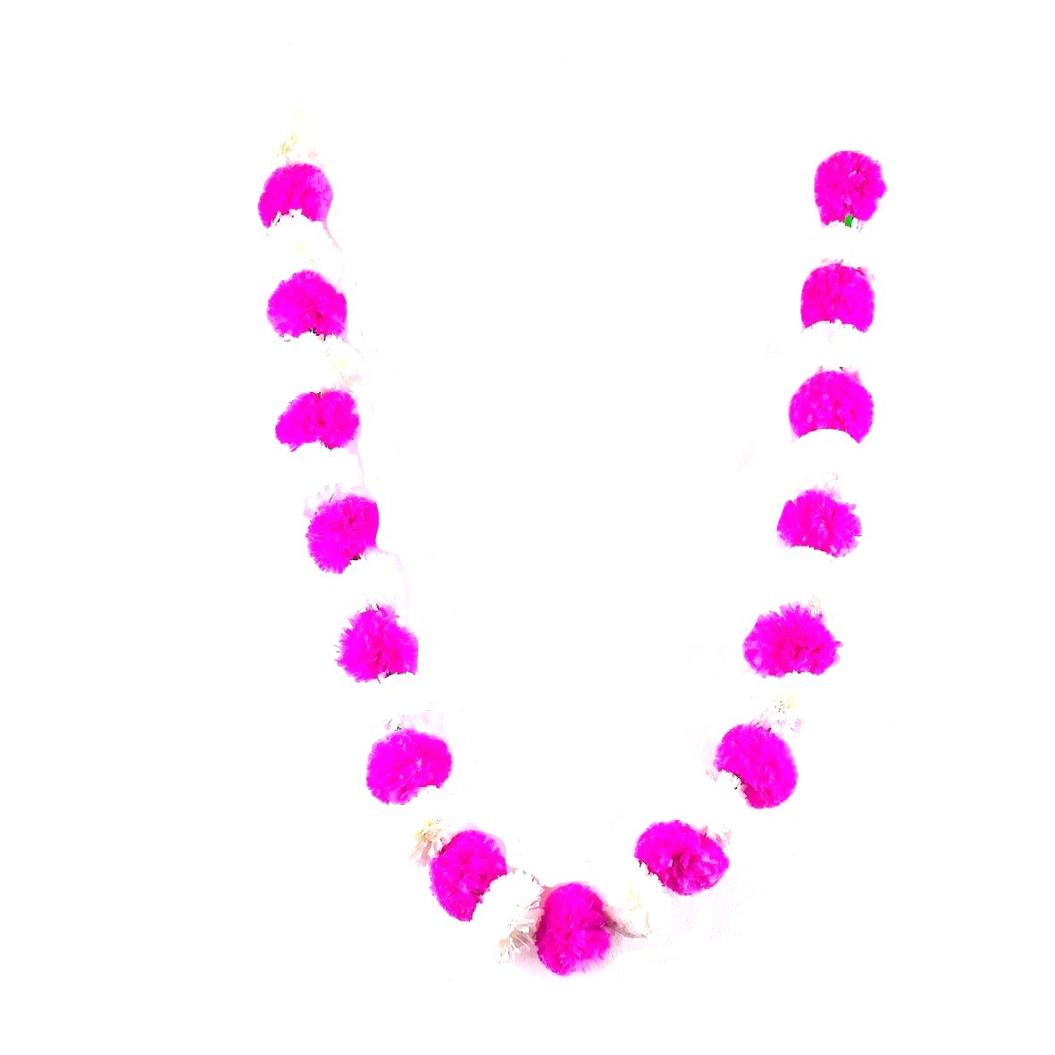 1 x String of White / Hot Pink Marigold Artificial Plastic Hanging Garland 4ft Long