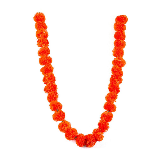 Mango Coloured Artificial Marigold Flower Garland,