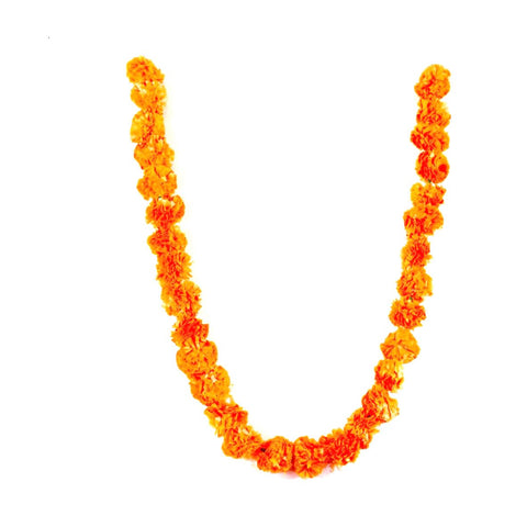 orange artificial marigold flower garland