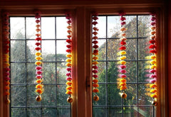 Personalised Window Artificial Garland Flowers - Mixed Colour Personalised Window Artificial Garland Flowers With Gold Ball