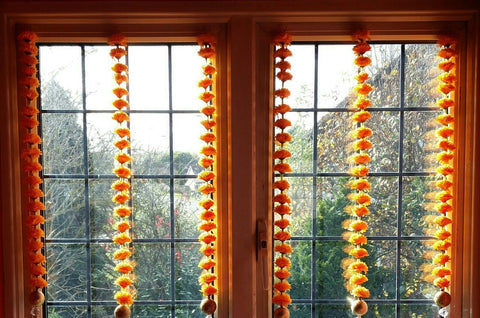 Personalised Window Artificial Garland Flowers - Orange Personalised Window Artificial Garland Flowers With Gold Ball