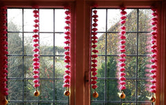 Personalised Window Artificial Garland Flowers - Pink Personalised Window Artificial Garland Flowers With Gold Ball