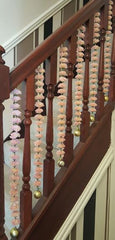 Stairway Artificial Garland Flowers - Cream & Pink Stairway Artificial Garland Flowers With Gold Ball