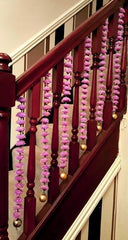 Stairway Artificial Garland Flowers - Lilac Stairway Artificial Garland Flowers With Gold Ball