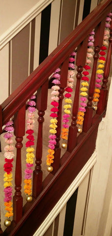 Stairway Artificial Garland Flowers - Mixed Colour Stairway Artificial Garland Flowers With Gold Ball