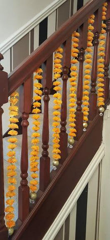 Stairway Artificial Garland Flowers - Orange Stairway Artificial Garland Flowers With Gold Ball