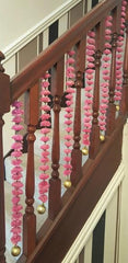 Stairway Artificial Garland Flowers - Pink Stairway Artificial Garland Flowers With Gold Ball