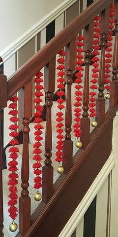 Stairway Artificial Garland Flowers - Red Stairway Artificial Garland Flowers With Gold Ball