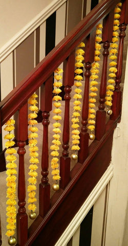 Stairway Artificial Garland Flowers - Yellow Stairway Artificial Garland Flowers With Gold Ball