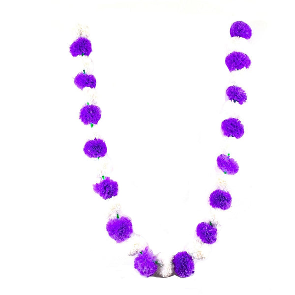 1 x String of White / Purple Marigold Artificial Plastic Hanging Garland 4ft Long