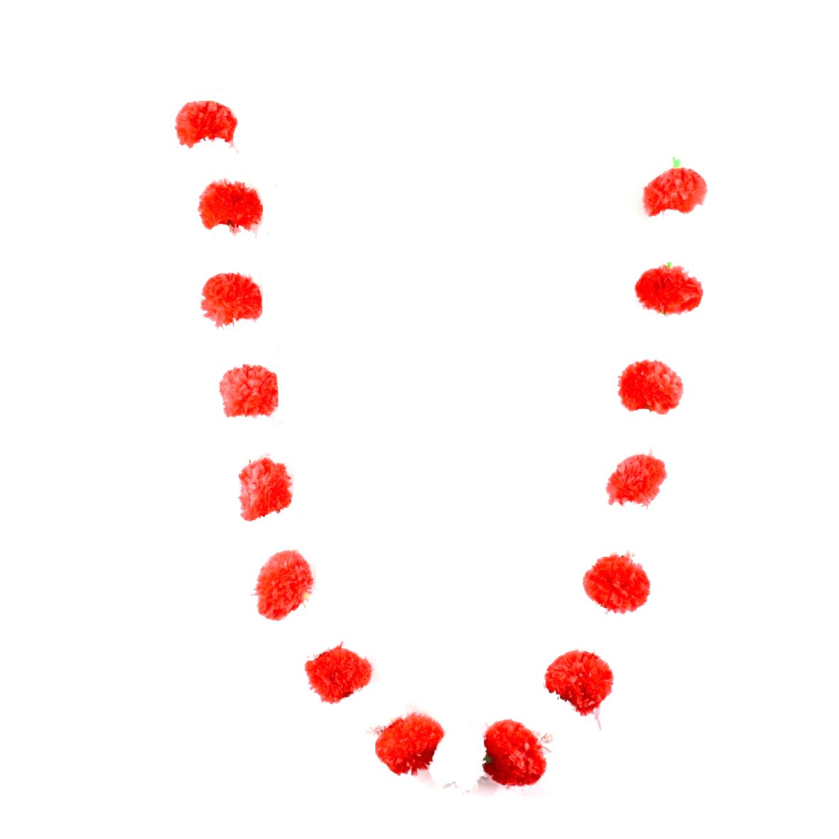 Red And White Artificial Marigold Flower Garland,