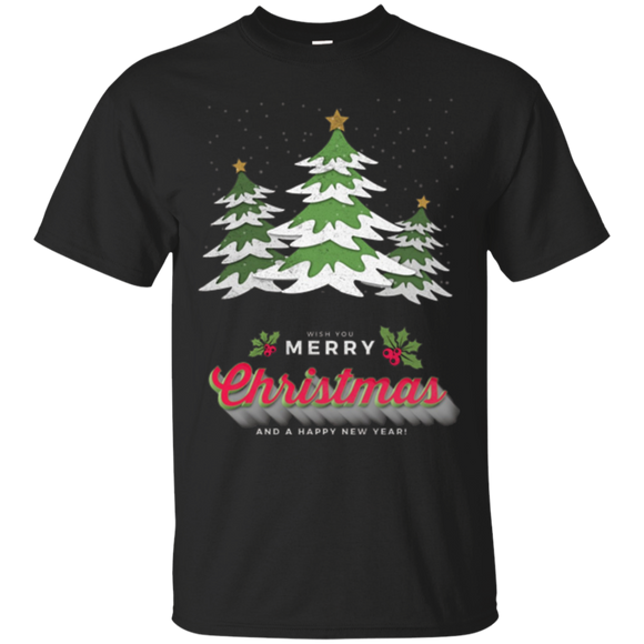 Merry Christmas with Snowy Pine Trees T-Shirt