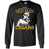 Mens Never Underestimate An Old Man Who Smokes Cigars Tees Shirt