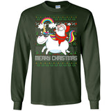 Santa Riding Unicorn Merry Xmas Gift Tshirt