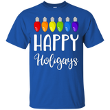 Happy Holigays - Funny LGBT Gay Pride Christmas Lights Tee