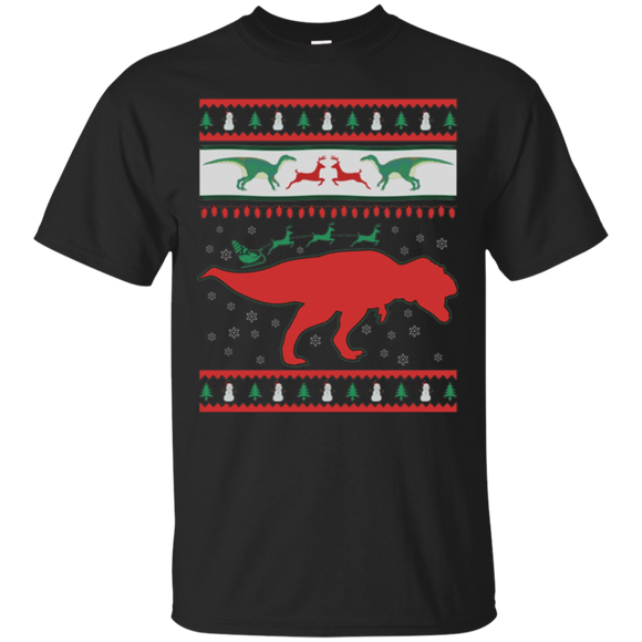 Dinosaur and Santa Clause Ugly Christmas Sweater T-Shirt