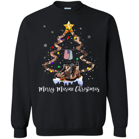 Veteran Merry Marine Christmas Tree Sweatshirt