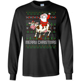 Santa Riding Cow Merry Xmas Farming Gift Tshirt