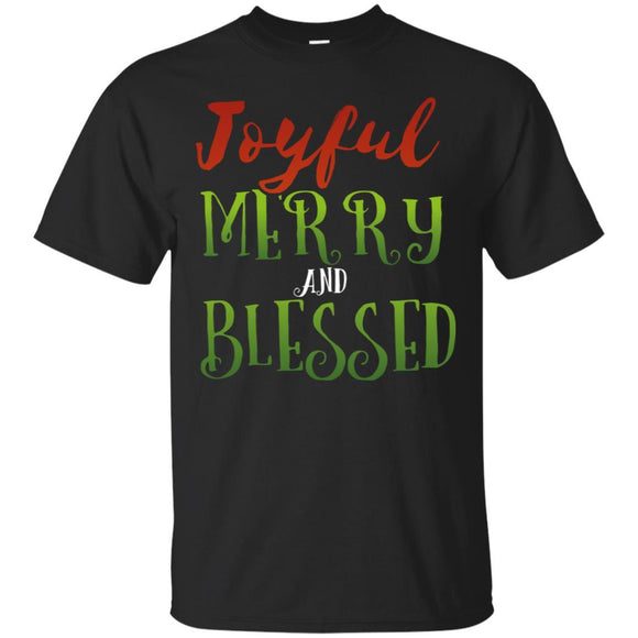 Joyful Merry and Blessed Family Holiday Christmas Tshirt