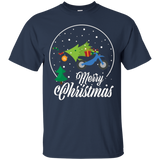 Merry Christmas Motorcycle Pine Tree T-shirt Xmas Graphic
