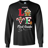 Love First Grade Teacher Shirt Christmas Gift Student Tee