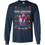 Ugly Christmas Santa Riding Unicorn Gift Tshirt
