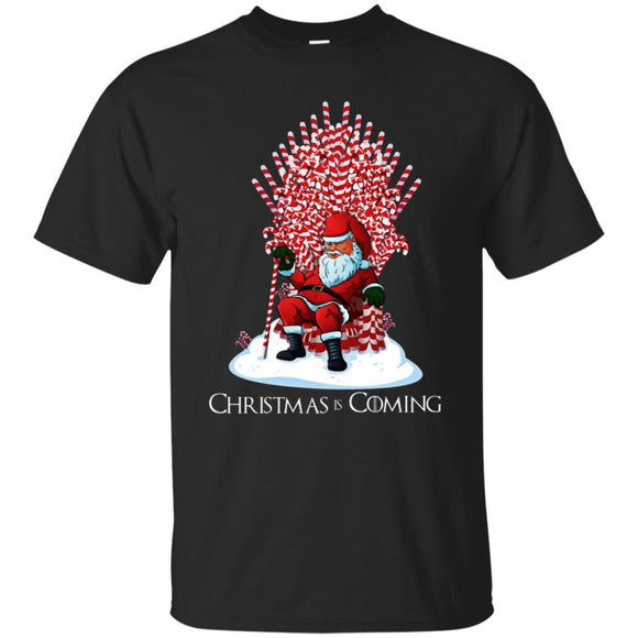Christmas Is Coming Santa Candy Cane Throne Christmas Shirt