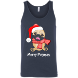 Merry Pugmas Christmas Pug Wearing Santa Hat Dog Womens Ladies T-Shirt